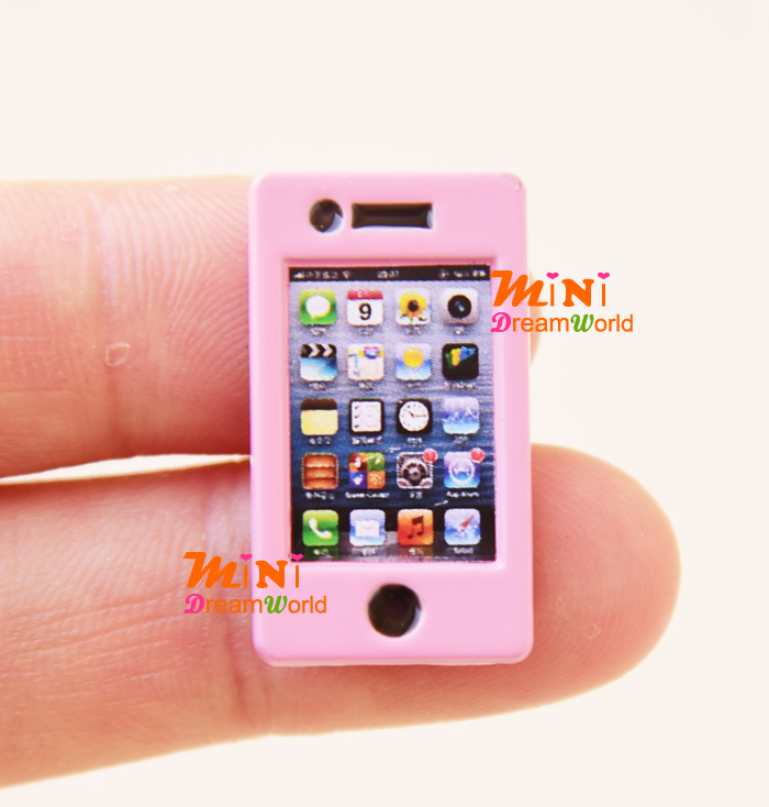 Barbie Toy Phone : Scale dollhouse miniature barbie dolls pink mobile